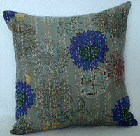 """GRAY FLORAL INDIAN COTTON KANTHA CUSHION PILLOW COVERS Ethnic Decorative Art 16"""""""