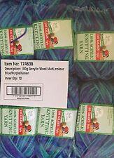Knitting wool 6 x 100g acrylic yarn 8ply Multi Colour Blue Purple Green New