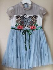 GUCCI HARRODS EXCLUSIVE BABY GIRLS BLUE SILK CHIFFON BUTTERFLY DRESS 4 YEARS