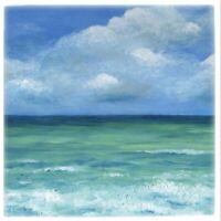 Large Ceramic Tile 6x6 Sea View 273 ocean beach blue art painting by L.Dumas