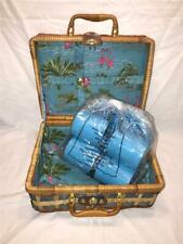 Child Picnic Basket with Blue Plates, Cups, Utensils - Flamingo Motif - New