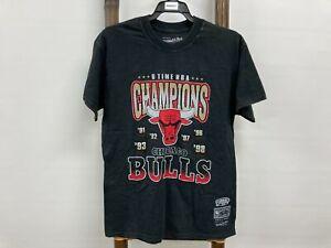 NEW Mitchell Ness Chicago Bulls 6xtime NBA grunge Black T-shirt Mens sz S RRP$50