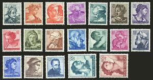 ITALY ITALIA REPUBBLICA 1961 MICHELANGIOLESCA (Sass. 899-917) SERIE INTEGRA