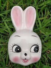 Lapin en céramique dévidoir ficelle vintage bunny string holder big eyes kitsch