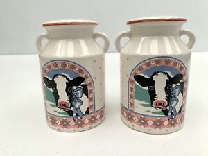 Vintage Ceramic Salt and Pepper Shakers Milk Can Ferments 🐄 Made in Japan NEW