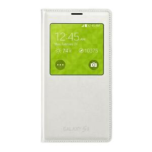 Samsung S-View Flip Cover For Galaxy S5 White Id Chip Case Folio Front Window