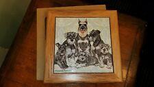 "Schnauzer Miniature Schnauzer Dog Kitchen Ceramic Trivet Framed 8"" x 8"" Dogs"