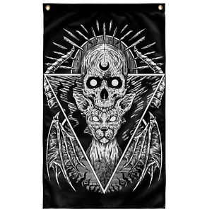 Skull Gothic Occult Cat Wall Flag Black And White