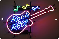 ROCK & ROLL MUSIC  Sign 8 x 12 Emblem Neon Guitar Version