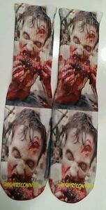 "Custom ""Brain Feast""  DRY FIT Socks Zombie gamma bred oreo  dead"