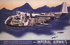 Imperial Airways Flying Boat cutaway 1930's art poster print SKU3392