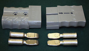 PAIR OF ANDERSON STYLE BATTERY CONNECTORS 350 AMP GREY