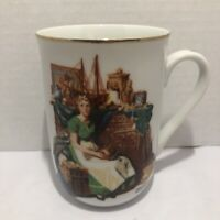 "Porcelain Mug Norman Rockwell ""Dreams In The Antique Shop"" 1985 Museum Japan"