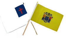 "12x18 12""x18"" Wholesale Combo Christ Christian State New Jersey Stick Flag"