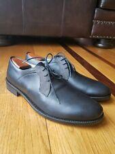 FRATELLI BORGIOLI Black Italian Leather Plain Toe Oxford Shoe Size 8 Made Italy