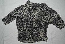 WOMENS leopard cowl neck BLOUSE TOP SHIRT = ROZ & ALI = SIZE XL = WH24