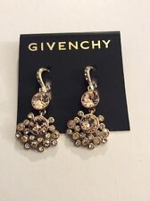 Givenchy Gold Tone Clear and Champagne Colored Cluster Drop Earrings $58 #689B
