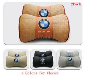 2PCS Leather Car Neck Headrest Pillow Soft Head Neck Rest Cushion fit for BMW
