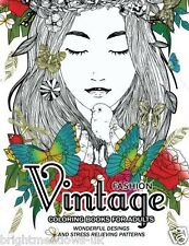 Vintage Fashion Floral Dresses Adult Colouring Book Ladies Women Beautiful Dress