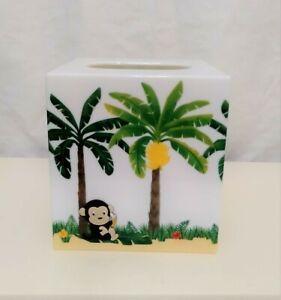 Bed Bath & Beyond Monkey Tissue Box Holder Hard Plastic Jungle Scene 3-D Monkeys