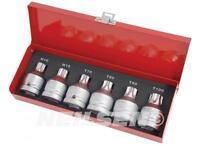6pc 3/4in Drive Star Torx Spline M16 M18 Socket Bit Set T70. T80. T90. T100