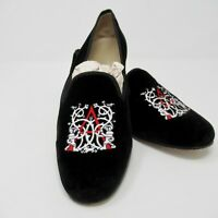 Stubbs Wootton Velvet Flats Round Toe Loafers Slippers Initial A Size 10