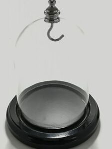 Pocket Watch Display Dome SilverKnob and Hanger Glass with Black Base, Free Ship