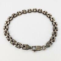 Sterling Silver 925 Vintage Domed Link Bracelet 7.75 Inches Signed HAN Italy