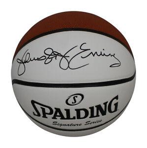 Julius Erving Autographed Philadelphia 76ers White Panel Basketball BAS 30627