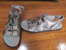 NEW Ecco Bluma Toggle Sandals WOMENS SZ 40 EUR 9-9.5 US WARM GREY METALLIC $110.