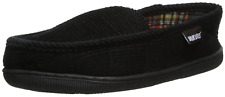 MenS Corduroy Moccasin With Flannel Lining, Black, Medium