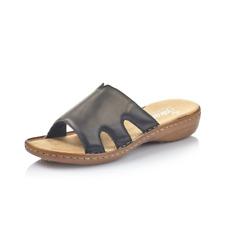 Rieker 60824-00 Ladies Black Leather Mule Sandal