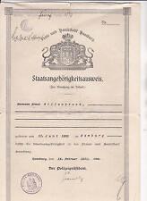 Staatsangehörigkeitsausweis 1932 Freie und Hansestadt Hamburg Willenbrock RAR