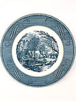 """Vintage Currier and Ives The Old Grist Mill 10"""" Royal China Dinner Plate Blue"""