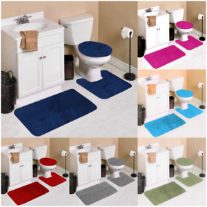 #6 SOLID 3PC BATHROOM SET SOFT COMFORT BATH RUGS ANTI SLIP SOLID COLOR DECOR