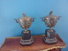 Paire de Vases couverts en bronze, socle marbre