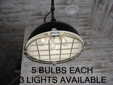 "1 1940's 19"" Black 5-Cluster Non-Porcelain Light Industrial Cage Vtg 3-AVAILABLE"