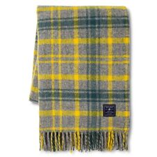 NEW Faribault Woolen Mill Company Plaid Wool Throw Blanket - Heather Grey/Yellow