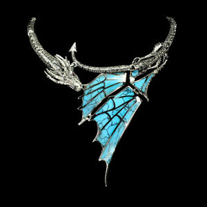 Blue Turquoise 36x9mm Marcasite Ruby 925 Sterling Silver Dragon Necklace 17 Ins