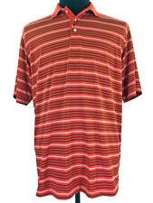 Walter Hagen Mens Orange White Striped Short Sleeve Golf Polo Shirt Size Medium