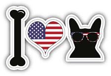I Love French Bulldog Usa Flag Car Bumper Sticker Decal 5' x 3'