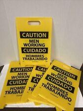 Floor Signs Dbl Side Caution Men Working Caution Slippery When Wet Bilingual