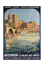 AVIGNON vintage tourism poster FRENCH CASTLE BRIDGE 24X36 oceanside vista