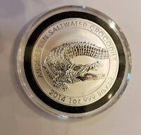 2014 1 oz. Australian Saltwater Crocodile .999 Silver BU Coin, Encapsuled