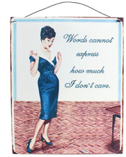 Metal Sign Words Cannot Express How Much I Don't Care Funny Vintage Plaque