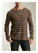 VINCE. Men's BROWN STRIPE Long Sleeve SHIRT Pima Cotton FRONT BUTTONS XXL