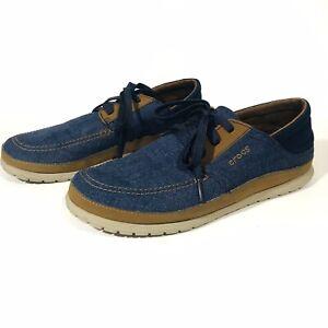 Crocs Santa Cruz Playa Shoes Size 9 Blue Canvas Dual Comfort Lace Up