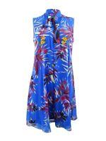 Calvin Klein Women's Printed Tie-Neck Shift Dress
