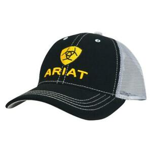 Ariat Mens Black and Grey with Yellow Logo Mesh Back Snapback Cap Hat