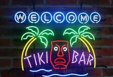 """New Welcome Tiki Bar Palm Tree Open Beer Bar Neon Light Sign 24""""x20"""""""